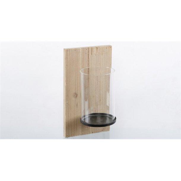 STILREN VEGGLANTERNE I TRE OG GLASS, 32 X 18 X 16 CM