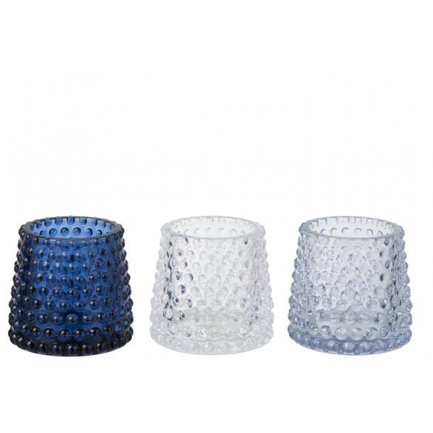 TRENDY TELYSGLASS I GLASS, LYS BLÅ, H 7 CM
